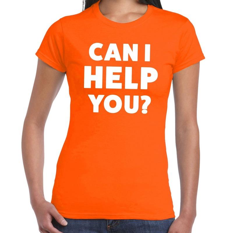 Can i help you beurs-evenementen t-shirt oranje dames