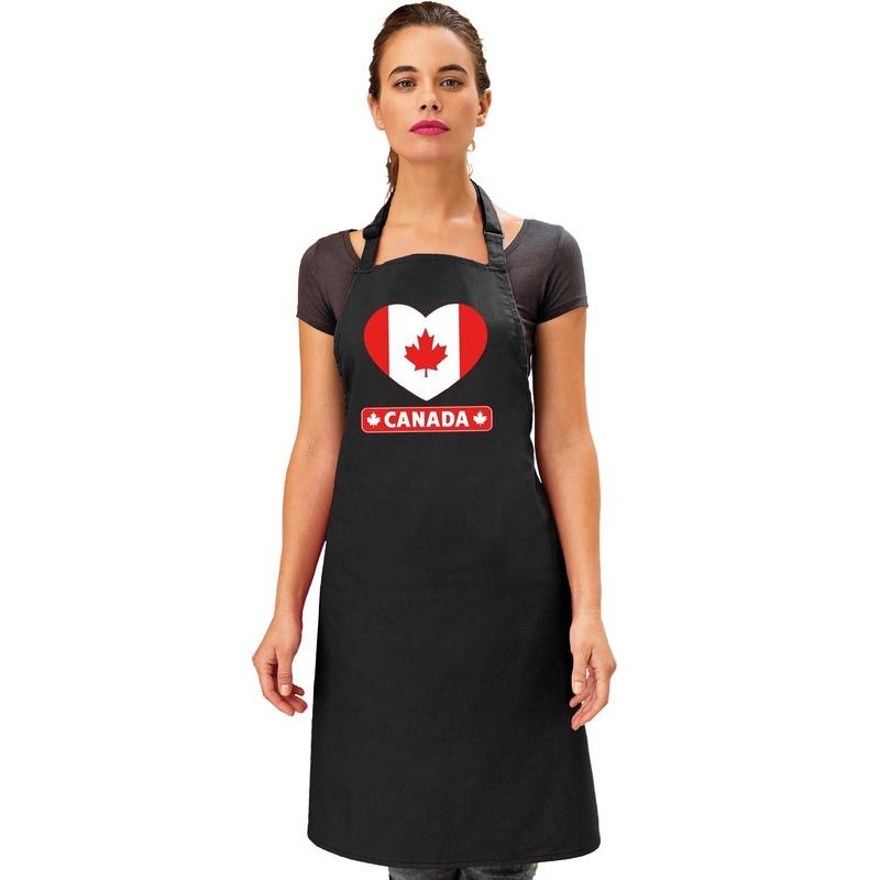 Canada hart vlag barbecueschort/ keukenschort zwart Zwart