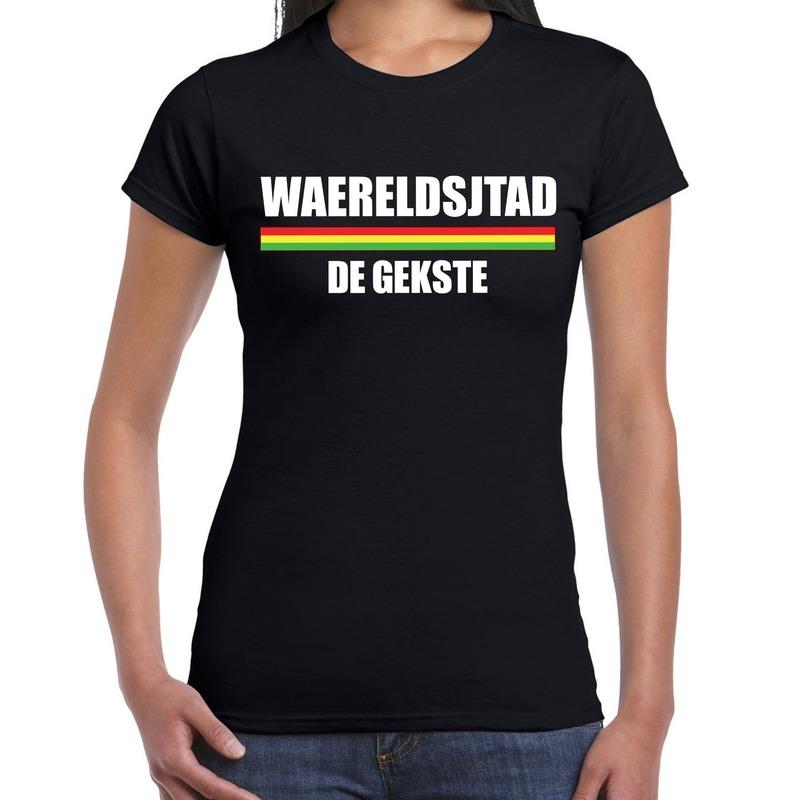 Carnaval Waereldsjtad de gekste t-shirt zwart voor dames