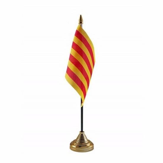 Catalonie tafelvlaggetje 10 x 15 cm met standaard