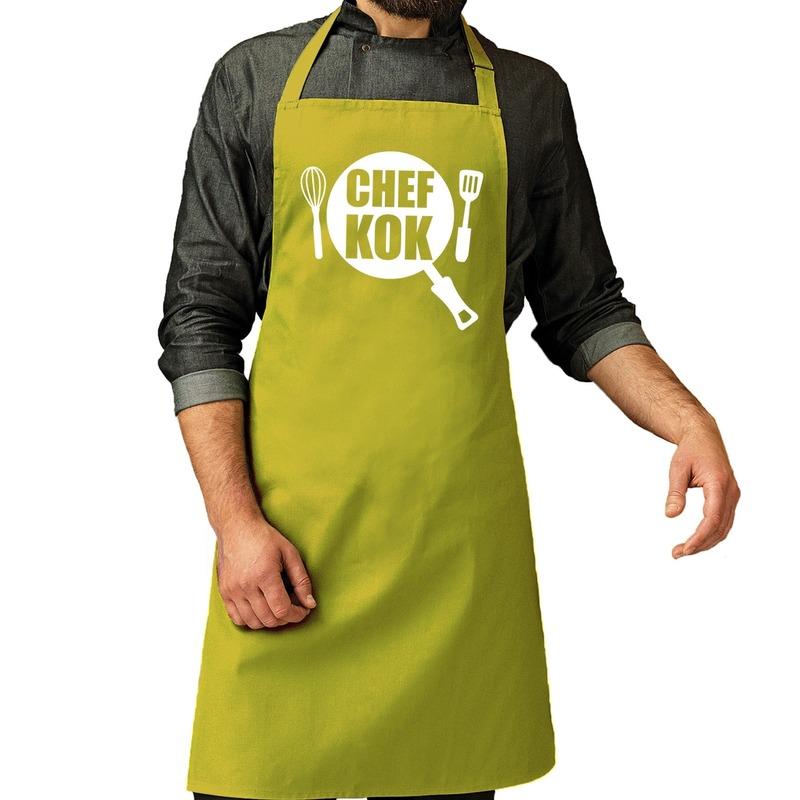 Chef kok barbeque schort - keukenschort lime groen voor heren