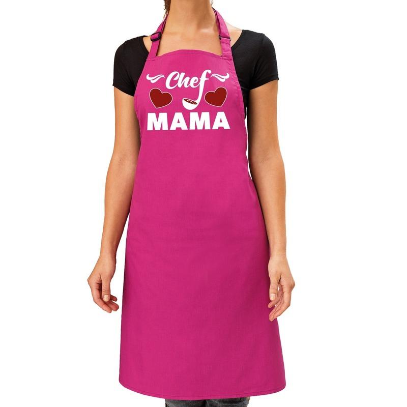 Chef Mama keukenschort roze voor dames - Moederdag