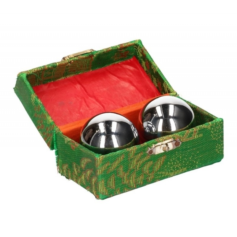 Chinese Meridiaankogels 3,5 cm zilver in groen kistje