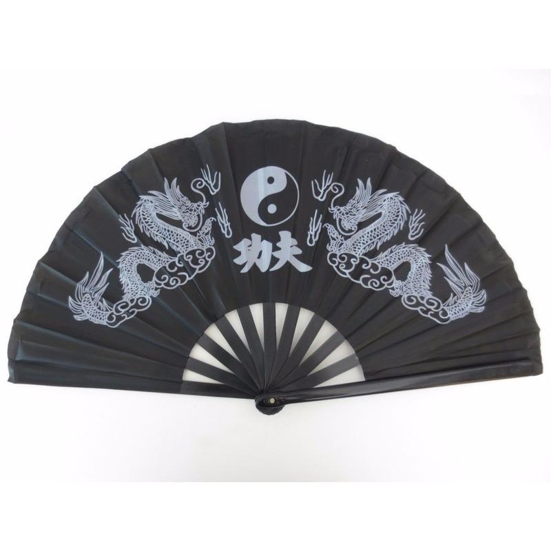 Chinese waaier Tai Chi zwart 62 x 33 cm