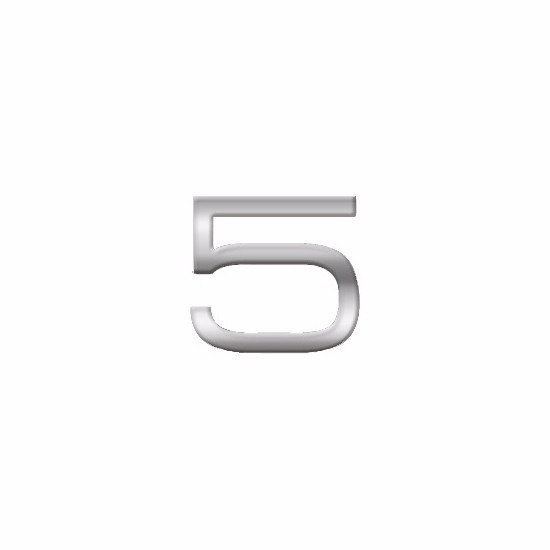 Chrome 3d plakcijfer 5 van 2,5 cm