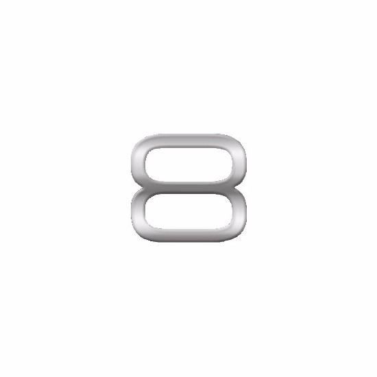 Chrome 3d plakcijfer 8 van 2,5 cm