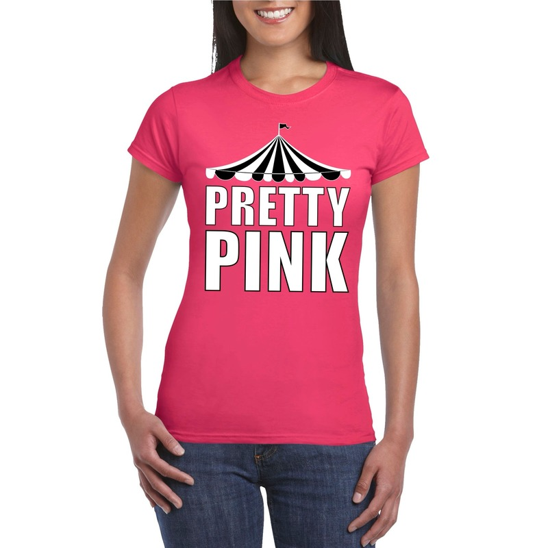 Circus t-shirt roze Pretty Pink witte letters dames