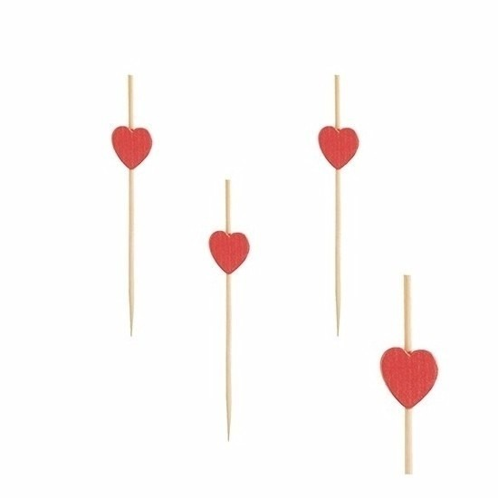 Cocktailprikkers met rode hartjes 80 stuks