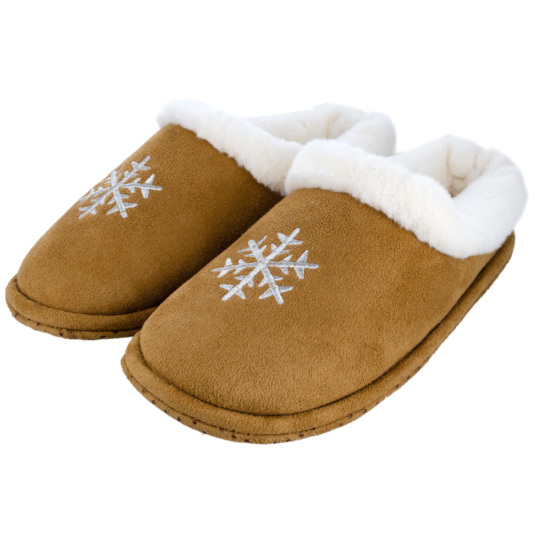 Cognac bruine sneeuwvlok pantoffels/sloffen voor dames 37 -