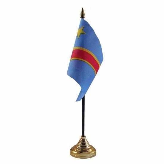 Congo tafelvlaggetje 10 x 15 cm met standaard