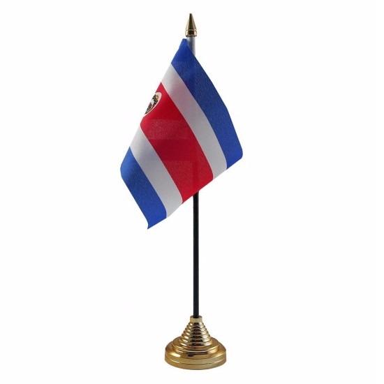 Costa Rica tafelvlaggetje 10 x 15 cm met standaard