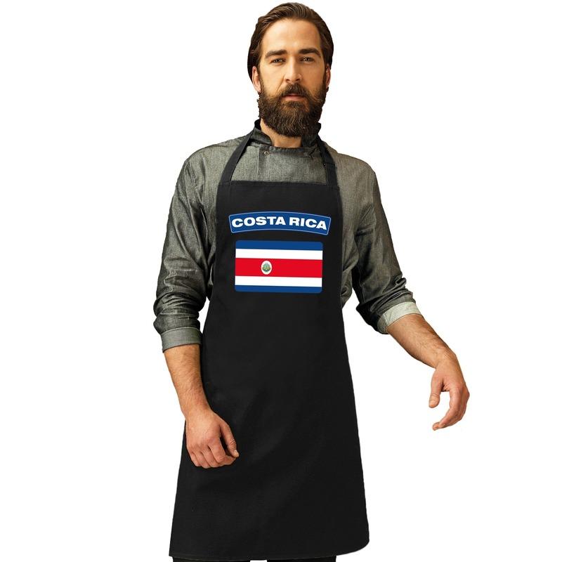 Costa Rica vlag barbecueschort/ keukenschort zwart volwassenen Zwart
