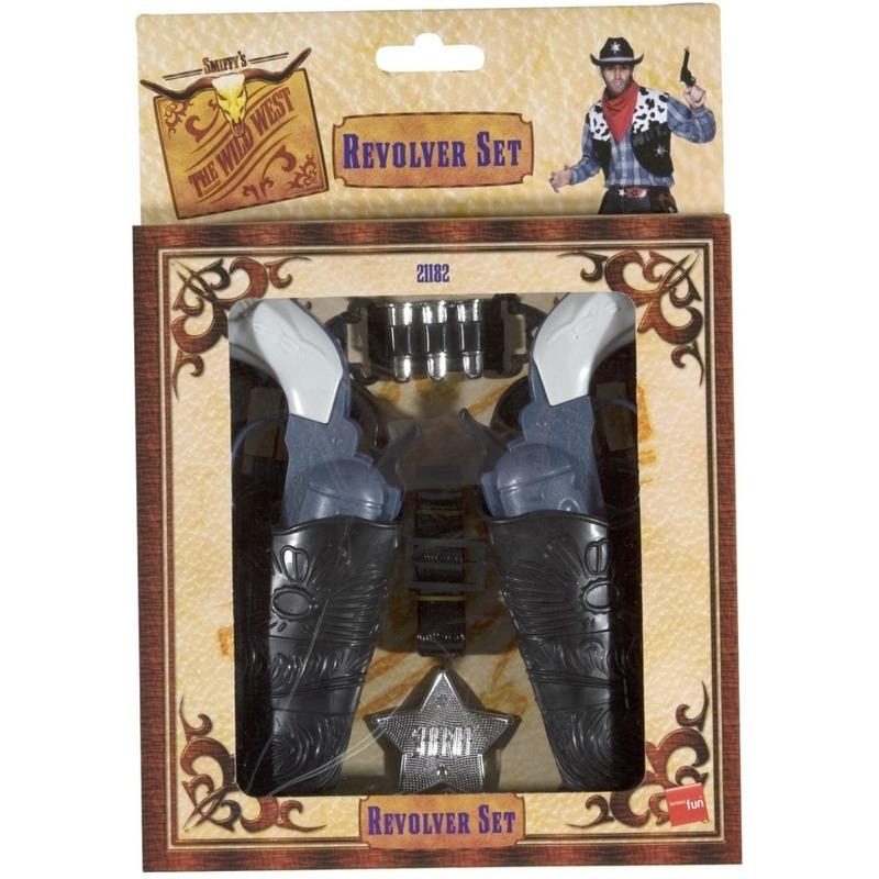 Cowboy verkleedset 2 revolvers met holster voor volwassenen