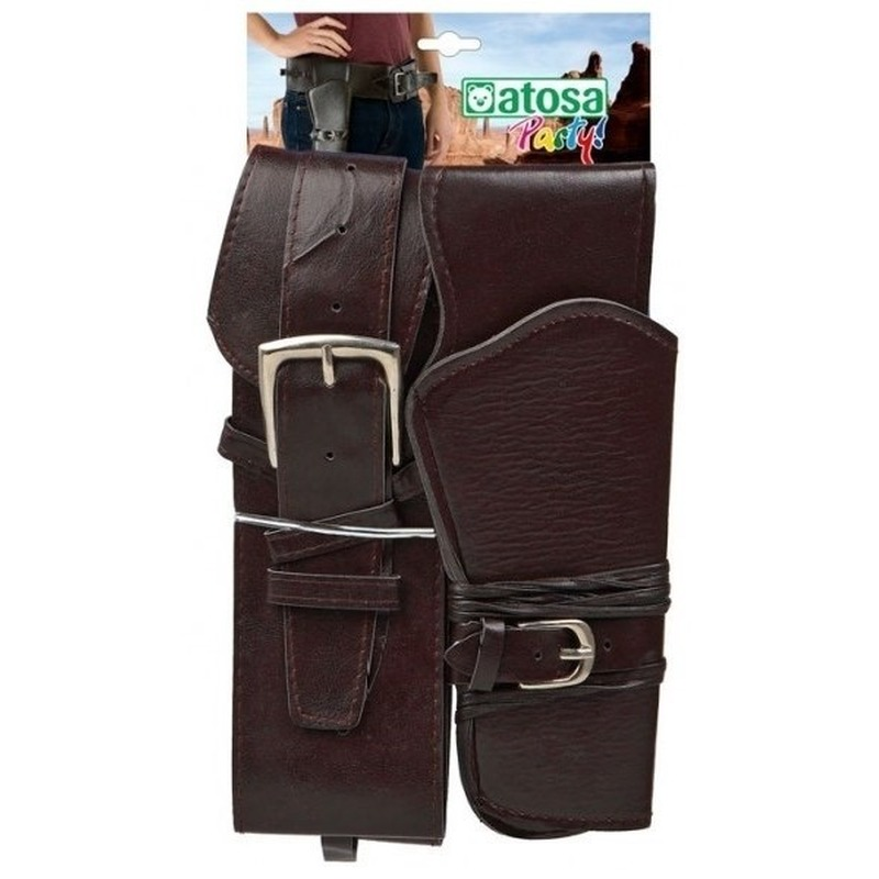 Cowboy/Western holster zwart met brede riem verkleed accessoire