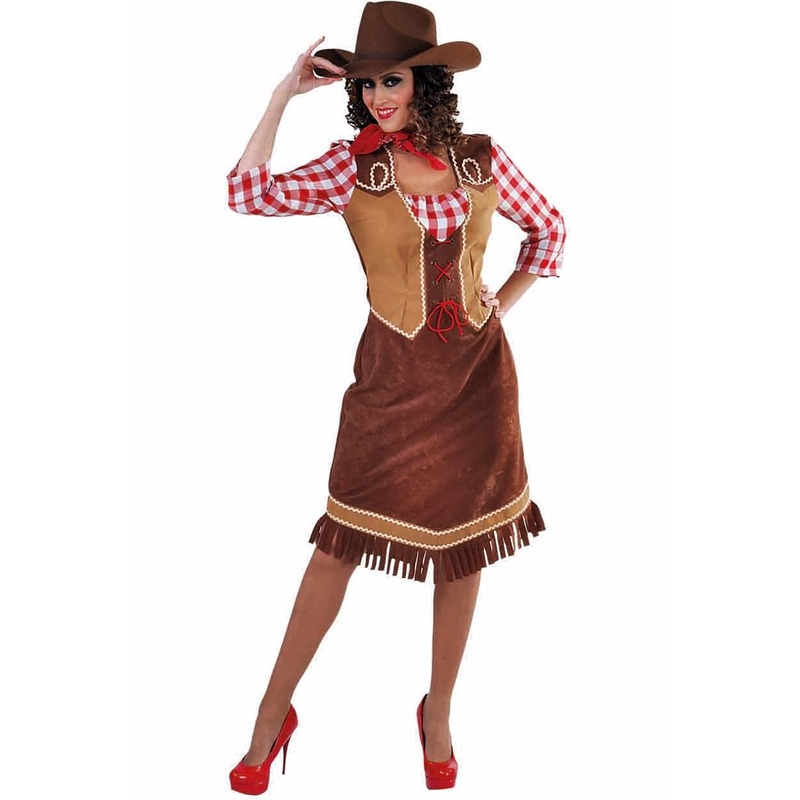 Cowgirl verkleed jurk/kosuum met geruite blouse voor dames