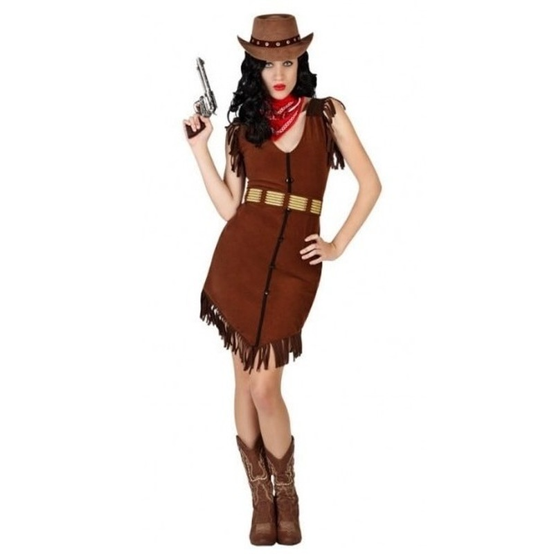 Cowgirl/Western verkleed jurkje met franjes voor dames
