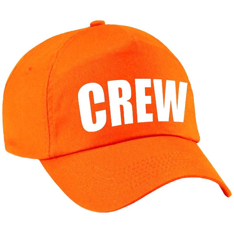 Crew pet /cap oranje met witte bedrukking dames en heren