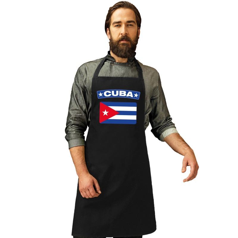 Cuba vlag barbecueschort/ keukenschort zwart volwassenen Zwart
