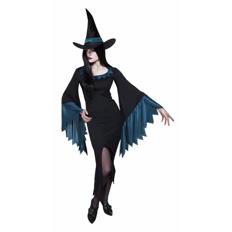 Dames heksen kostuum zwart met blauw