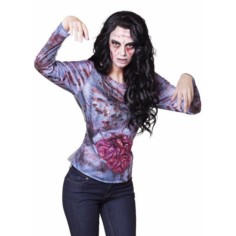 Dames shirt met zombie ingewanden