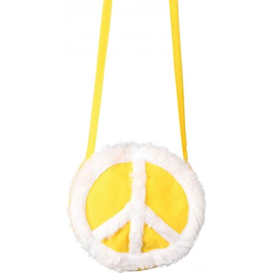 Dames tasje hippie thema peace teken geel