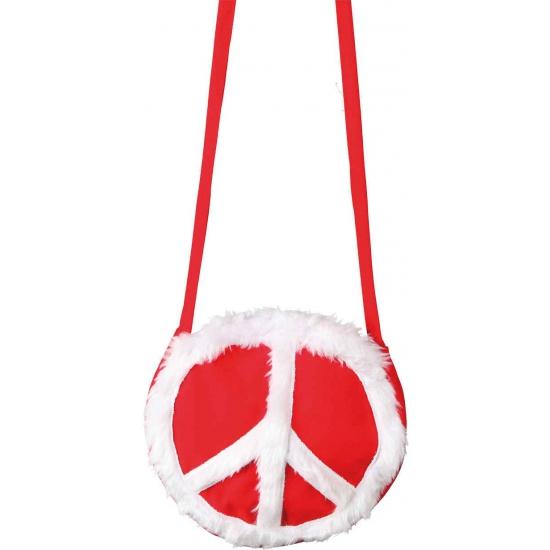 Dames tasje hippie thema peace teken rood