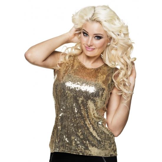 Dames verkleed shirt/topje goud met pailletten