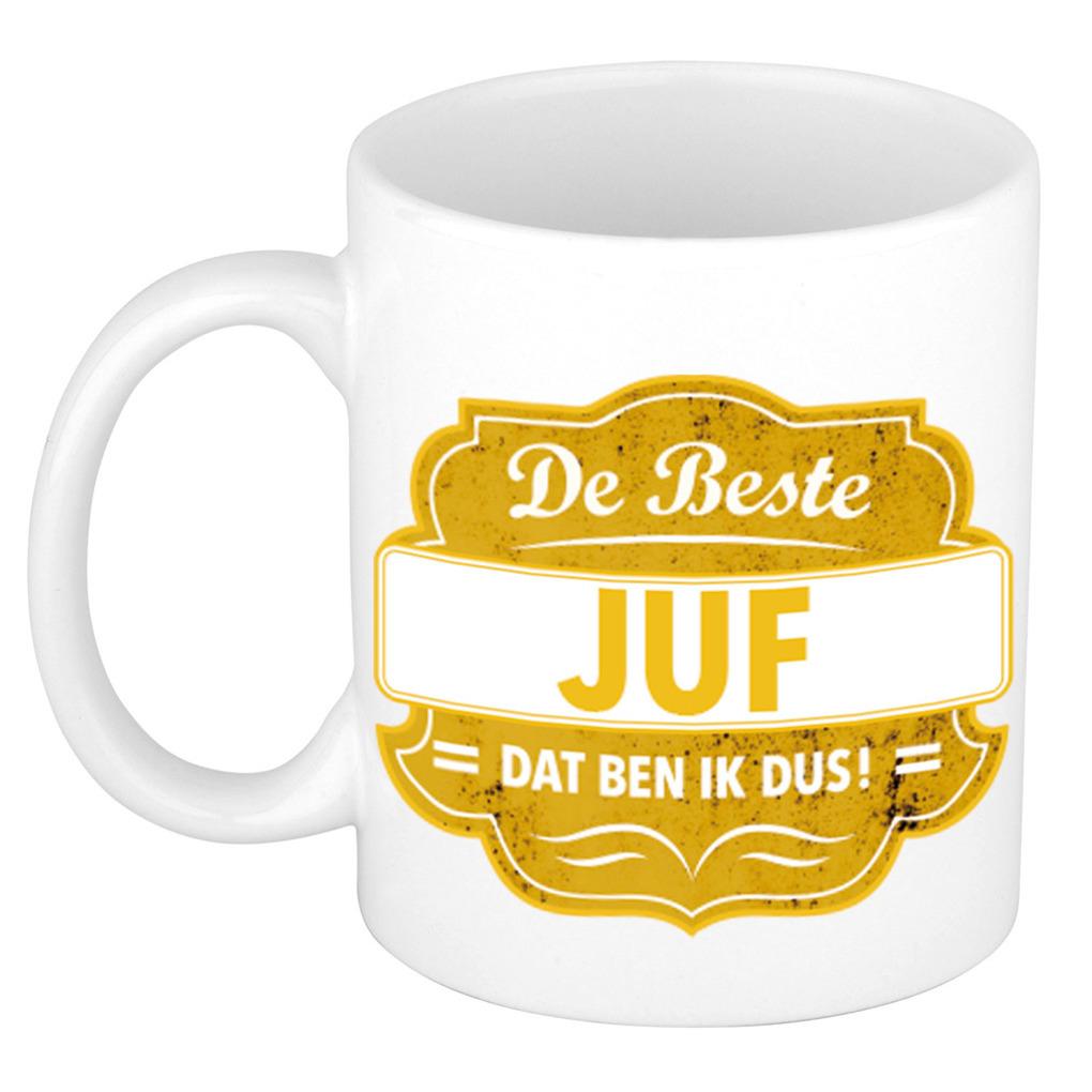 De beste juf cadeau koffiemok - theebeker geel embleem 300 ml