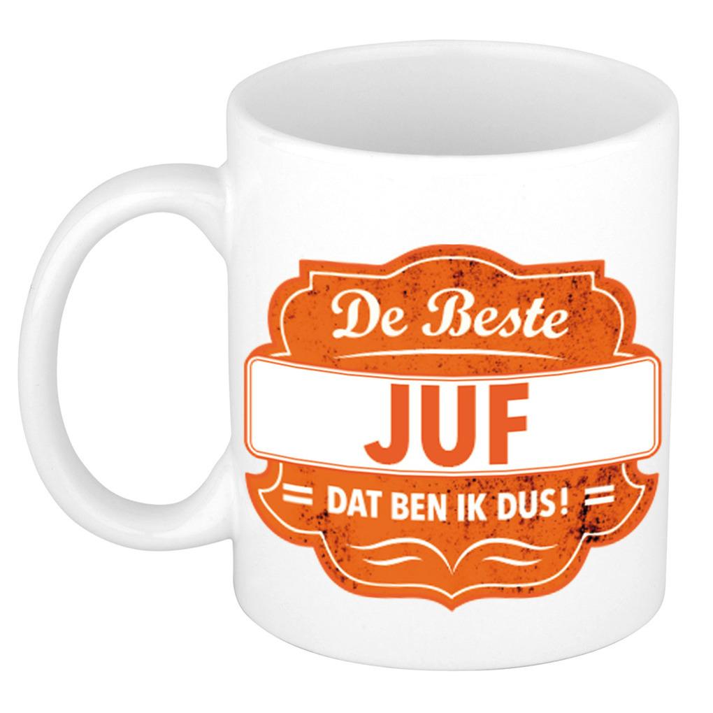 De beste juf cadeau koffiemok - theebeker oranje embleem 300 ml