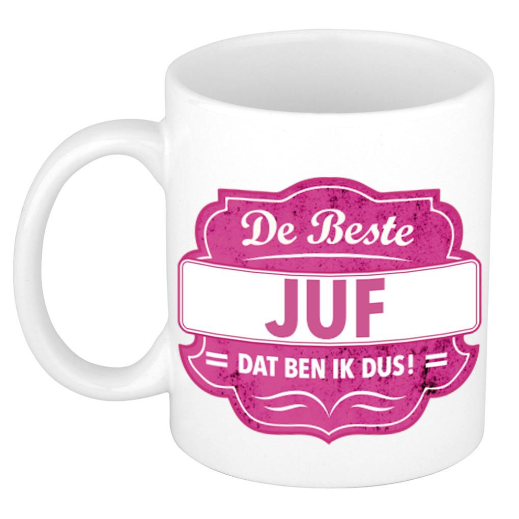 De beste juf cadeau koffiemok - theebeker roze embleem 300 ml