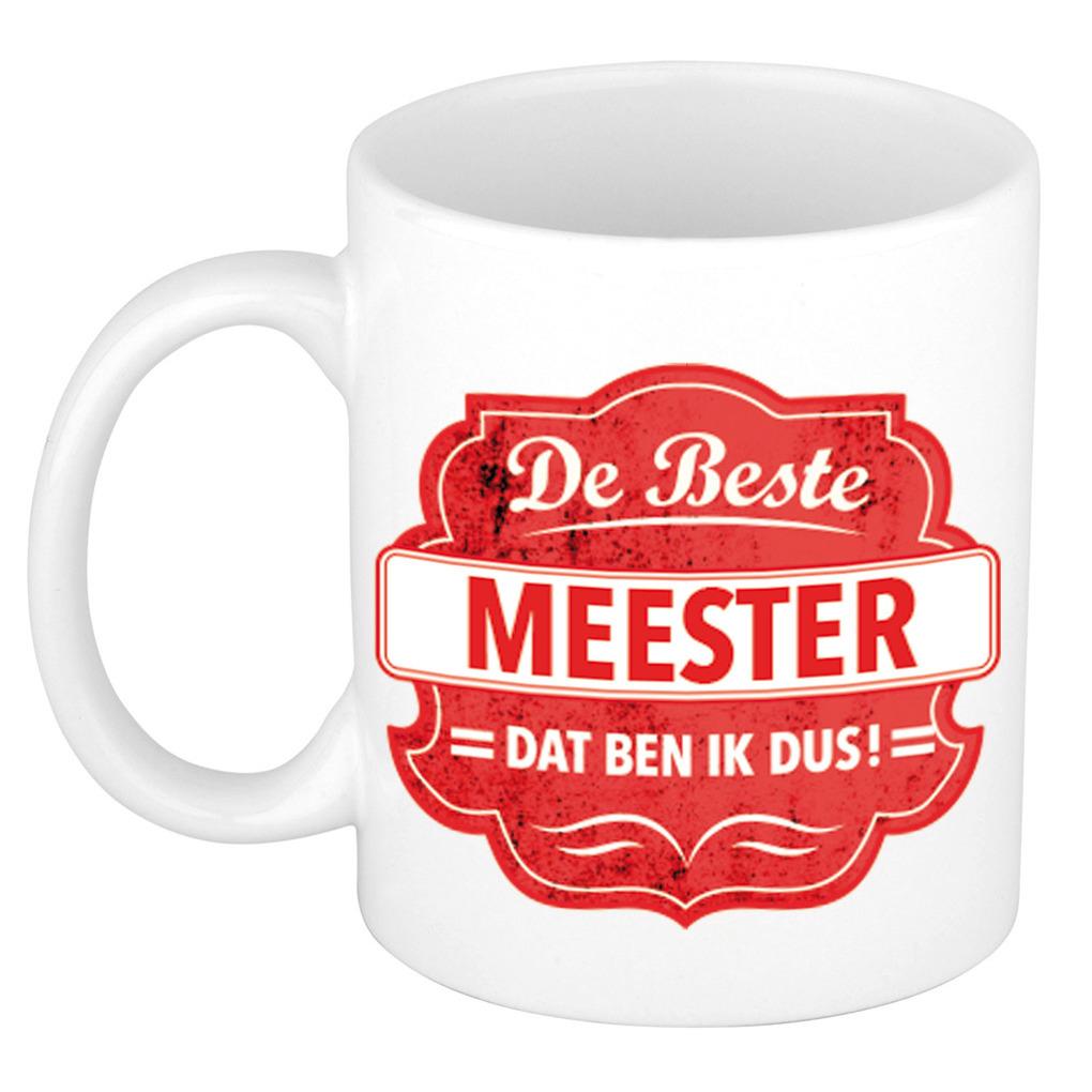 De beste meester cadeau koffiemok - theebeker rood embleem 300 ml