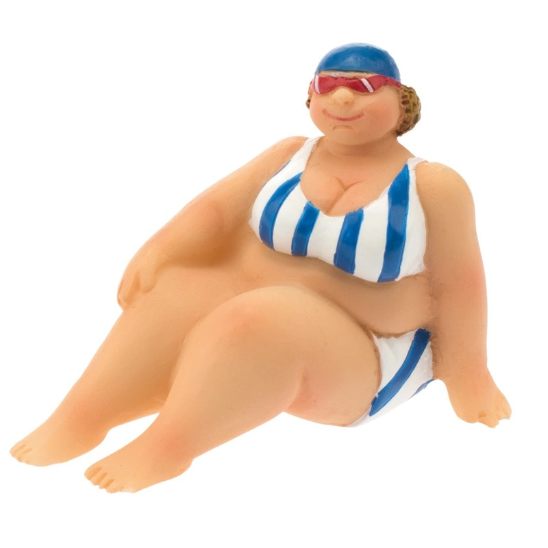 Geen Decoratie beeld dikke dame 4 cm in blauw/witte bikini Blauw