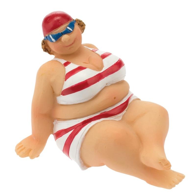 Geen Decoratie beeld dikke dame 4 cm in rood/witte bikini Rood