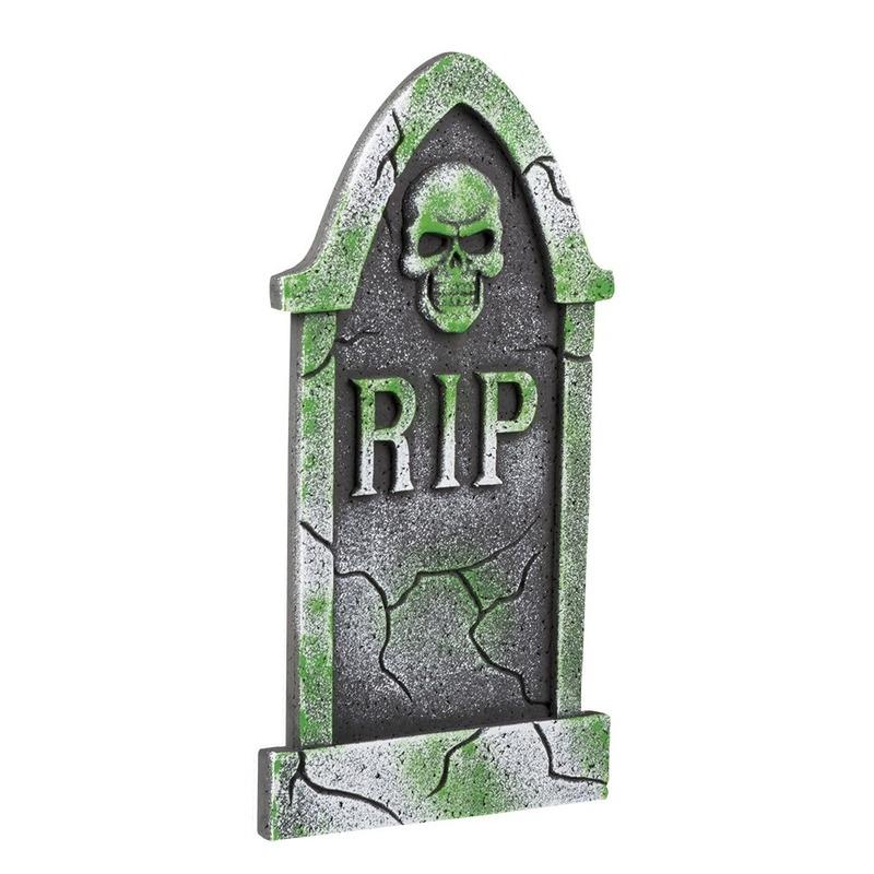 Decoratie halloween grafsteen schedel 40 cm