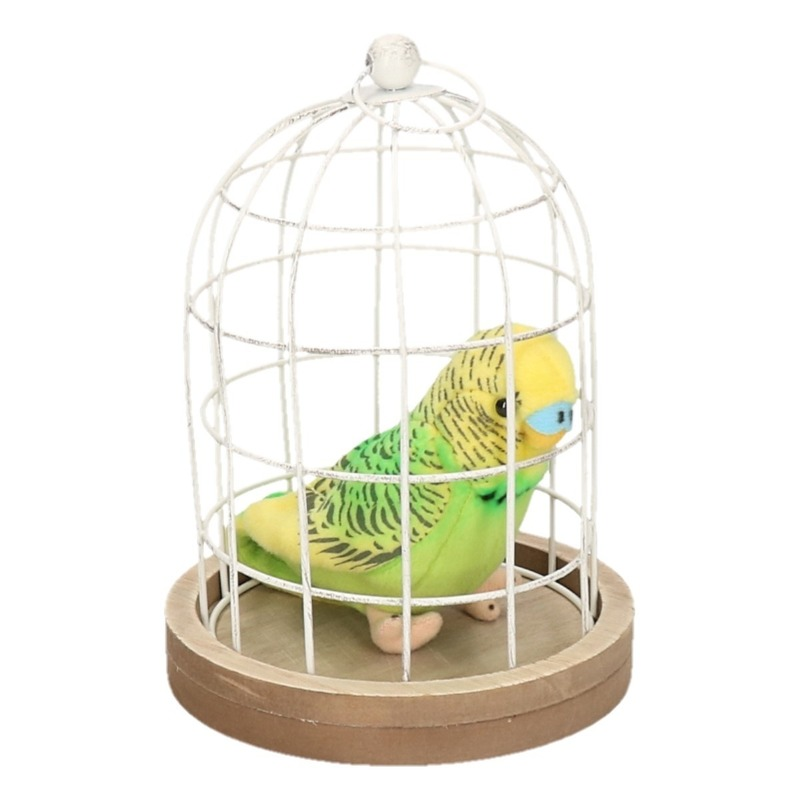 Decoratieve vogelkooi 19 cm met pluche parkiet