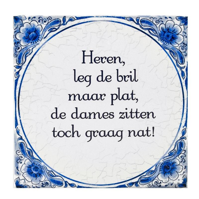Delfts blauwe teksttegel bril plat