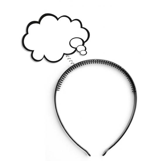 Diadeem met denk wolkje - tekstballon accessoires