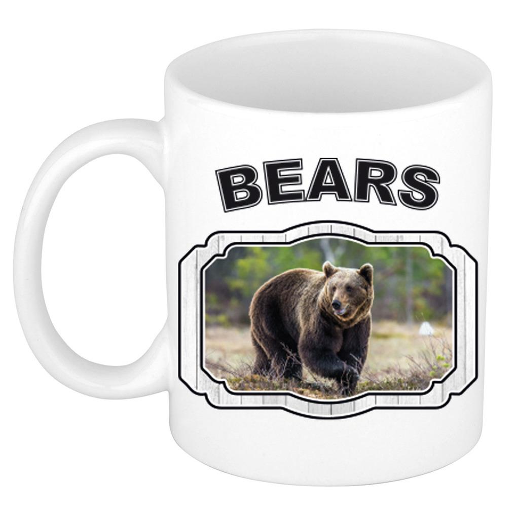 Dieren bruine beer beker - bears/ beren mok wit 300 ml