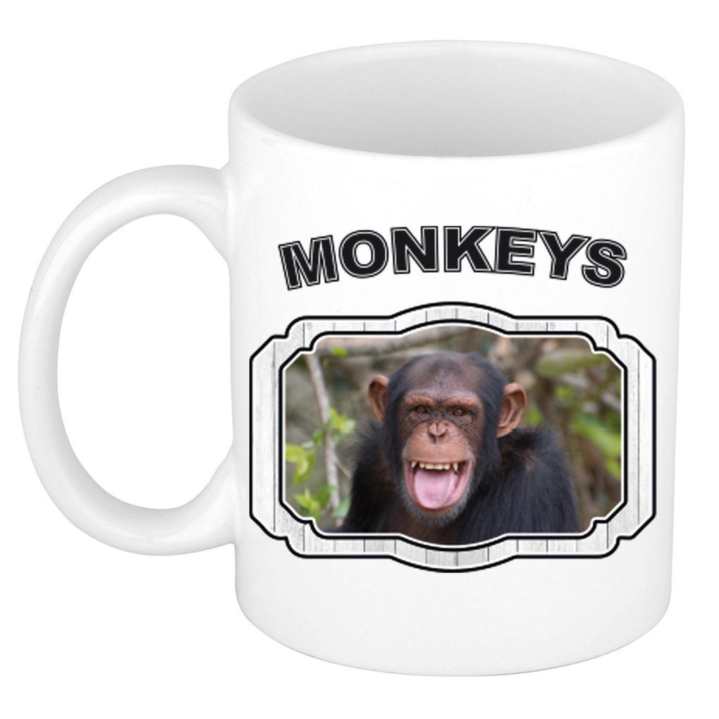 Dieren chimpansee beker - monkeys/ apen mok wit 300 ml
