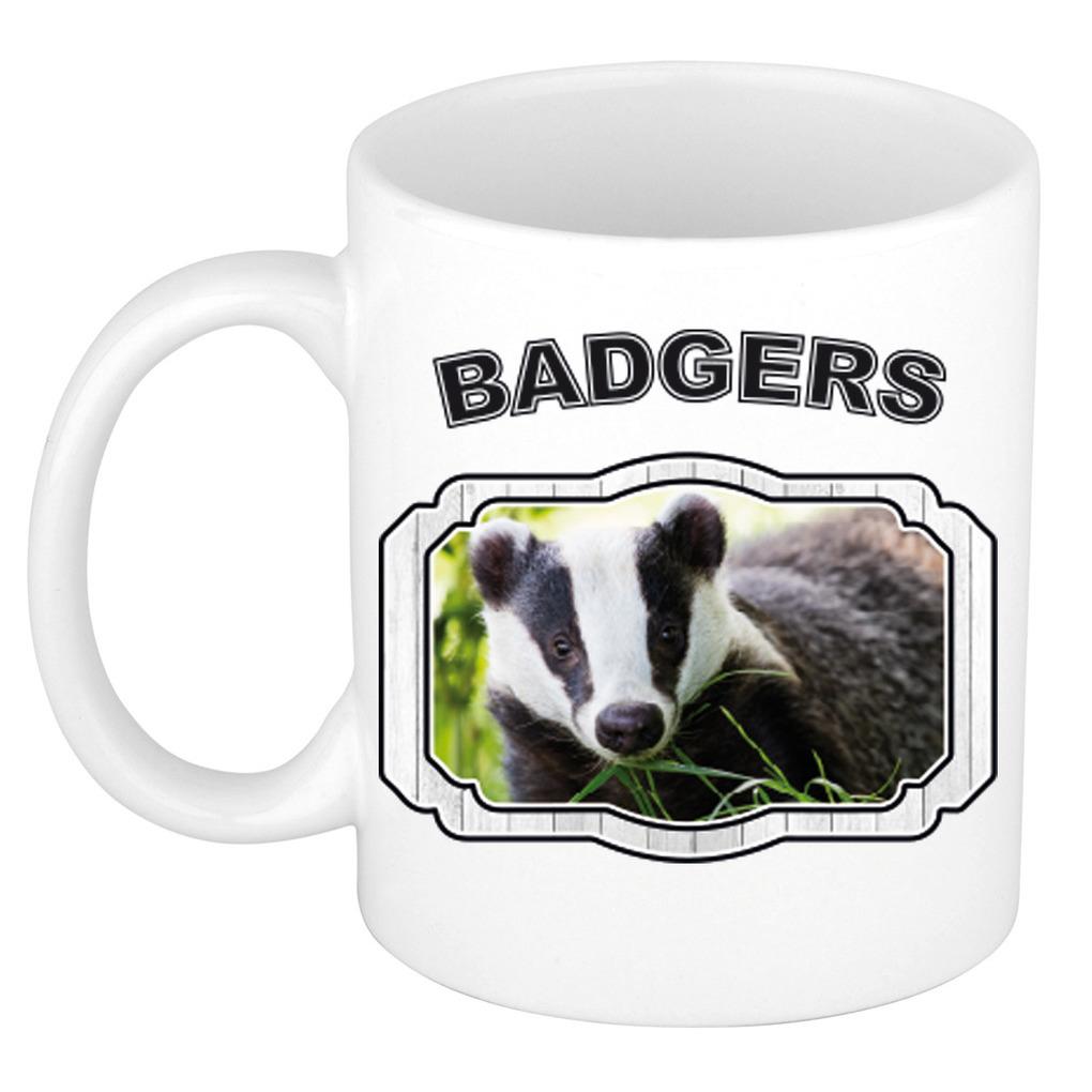 Dieren das beker - badgers/ dassen mok wit 300 ml