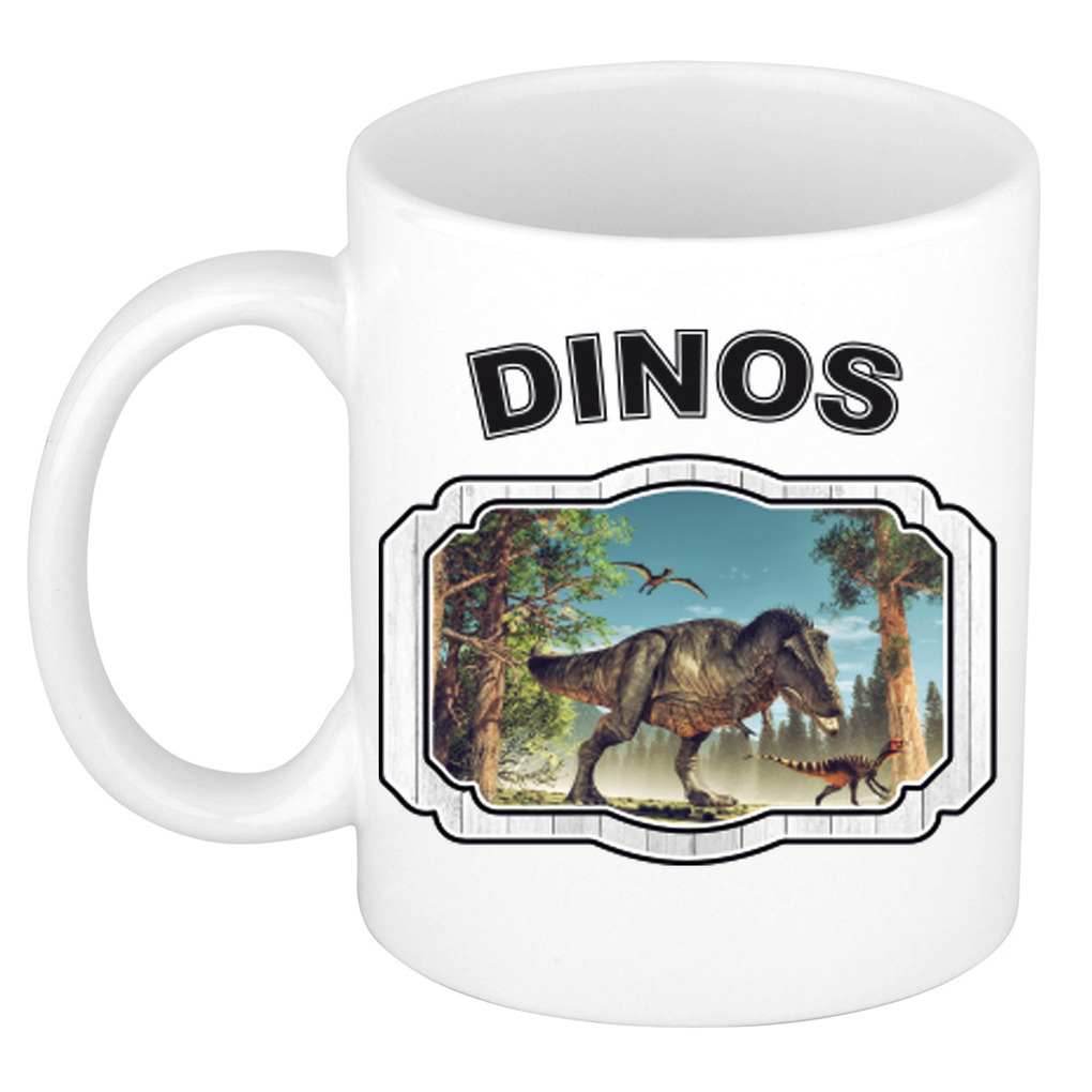 Dieren dinosaurus t-rex beker - dinosaurs/ dinosaurussen mok wit 300 ml