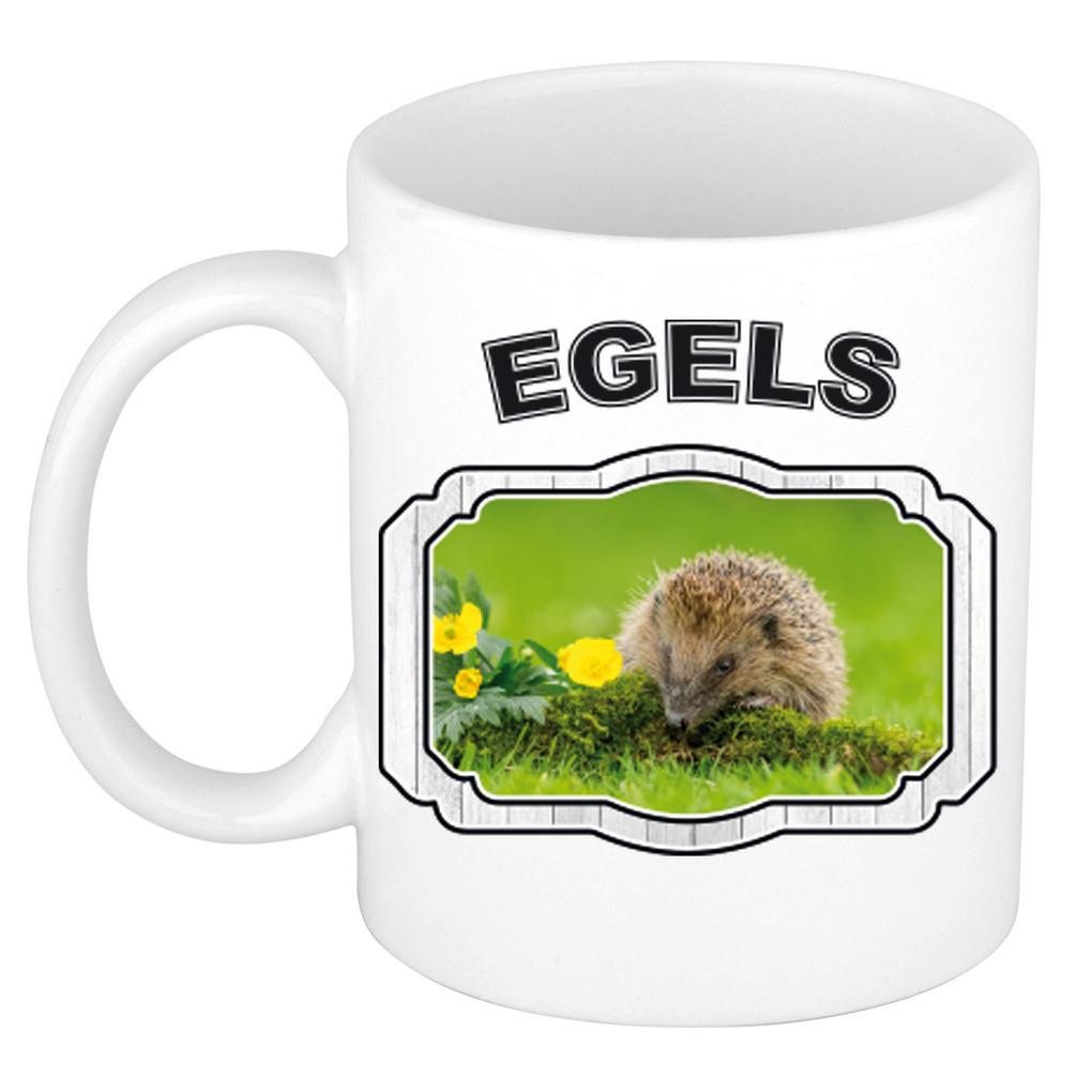 Dieren egel beker - hedgehogs/ egels mok wit 300 ml