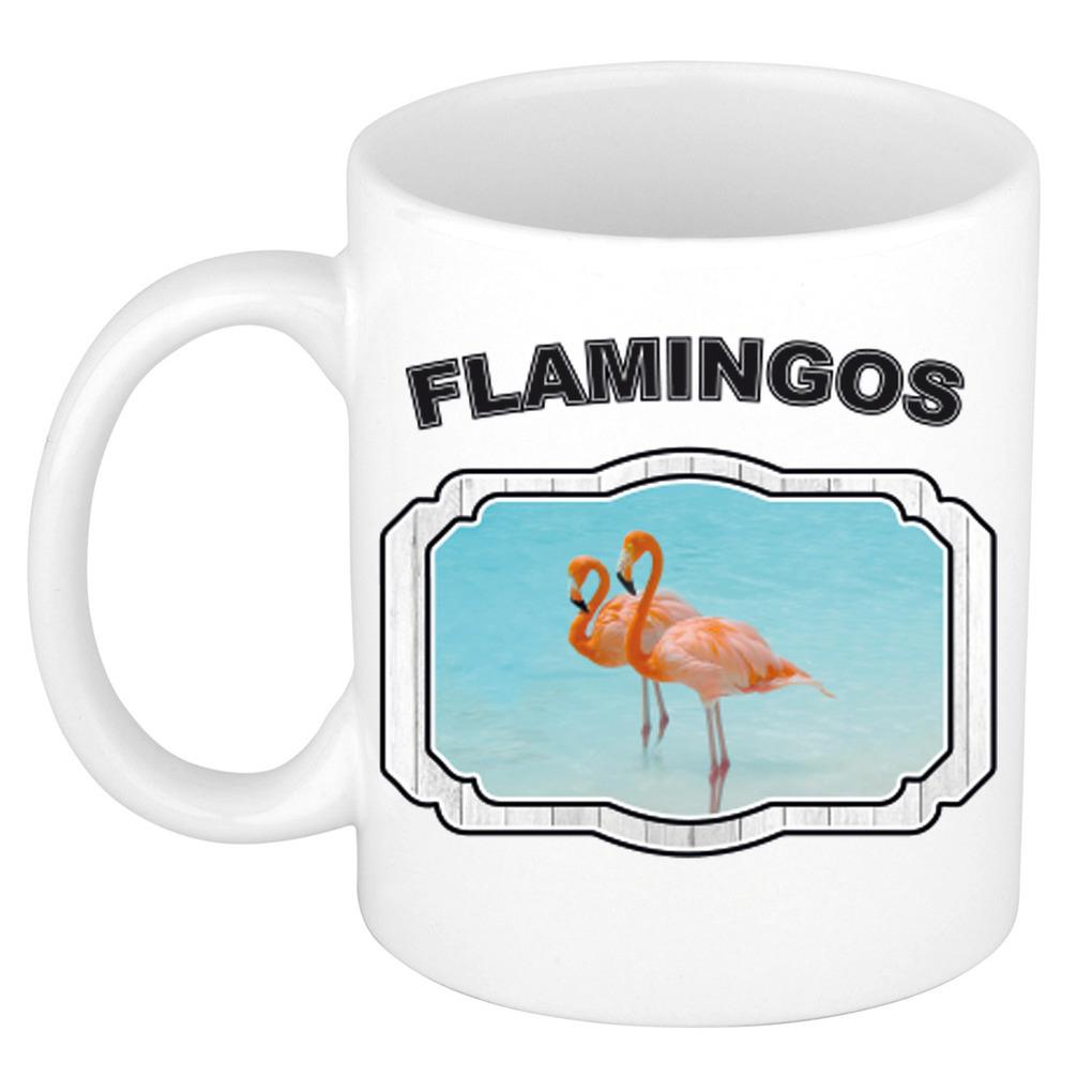 Dieren flamingo beker - flamingos/ flamingo vogels mok wit 300 ml