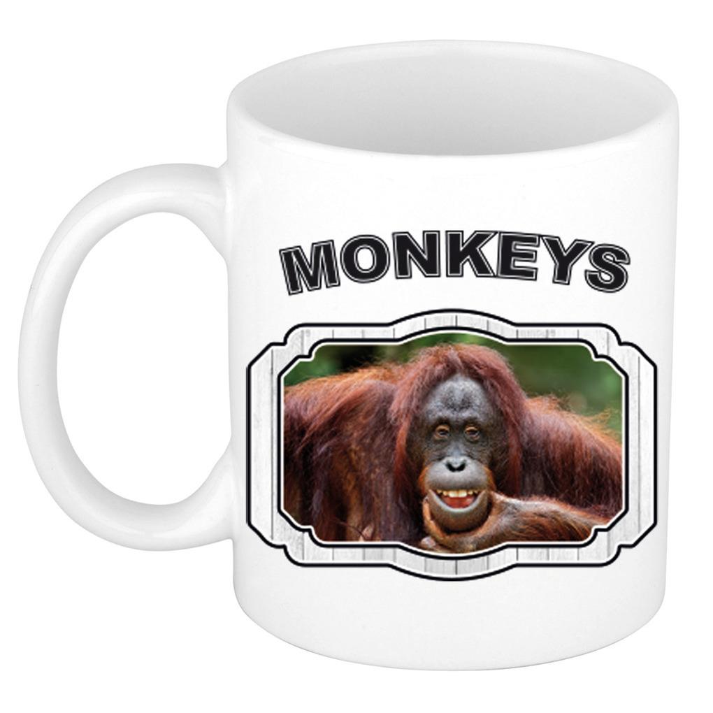 Dieren gekke orangoetan beker - monkeys/ apen mok wit 300 ml