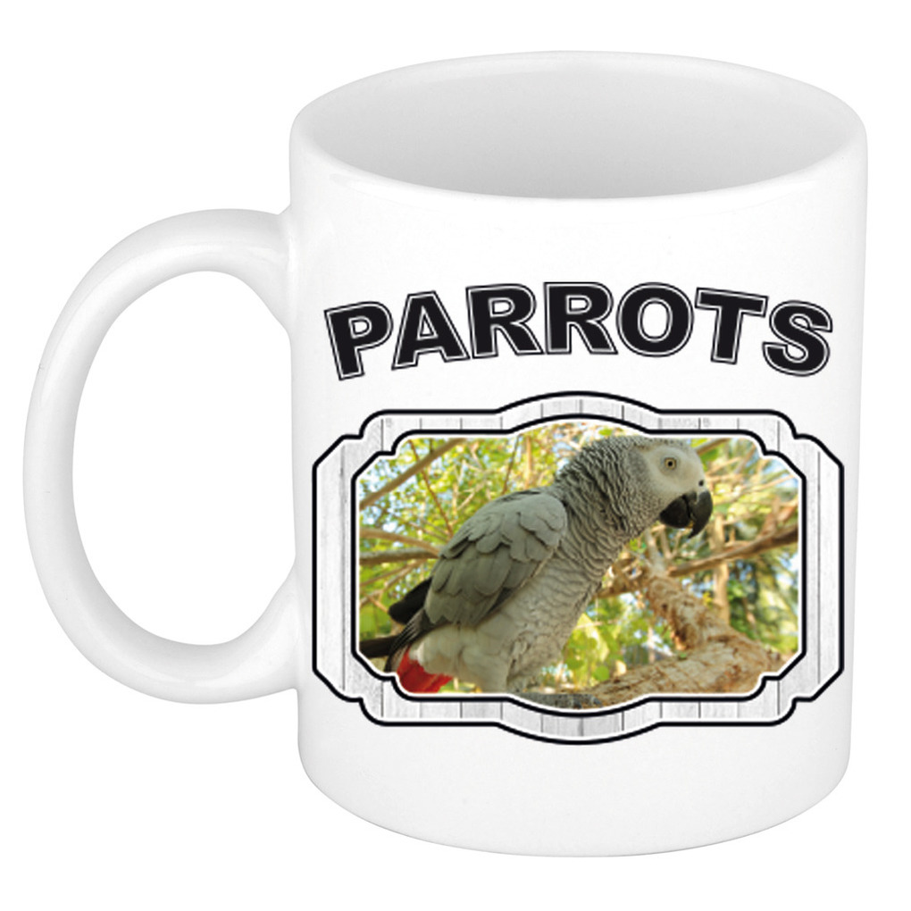 Dieren grijze papegaai beker - parrots/ papegaaien mok wit 300 ml