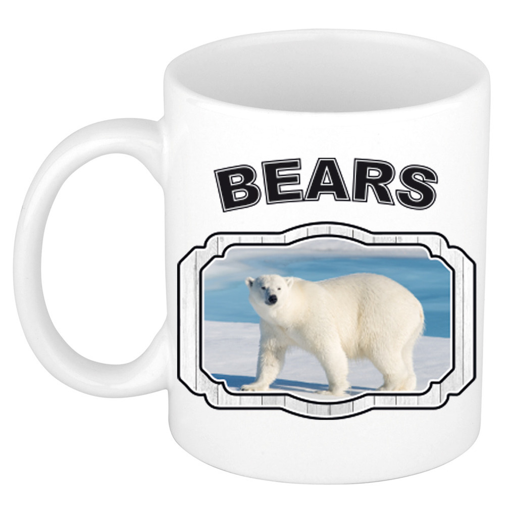 Dieren grote ijsbeer beker - bears/ ijsberen mok wit 300 ml