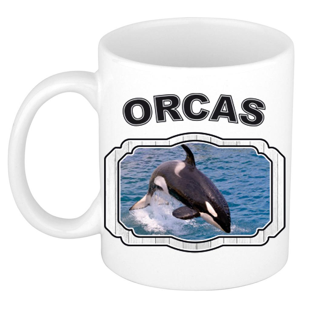 Dieren grote orka beker - orcas/ orka walvissen mok wit 300 ml