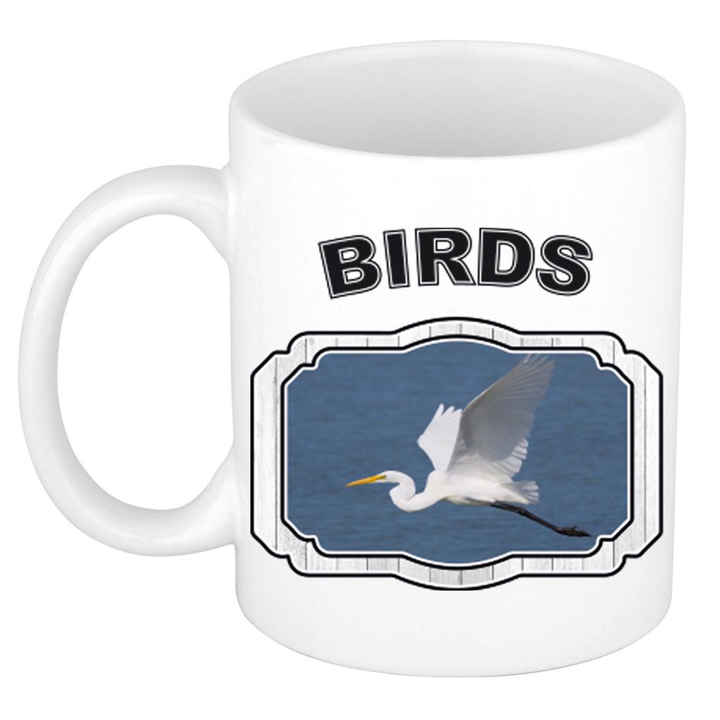 Dieren grote zilverreiger beker - birds/ vogels mok wit 300 ml