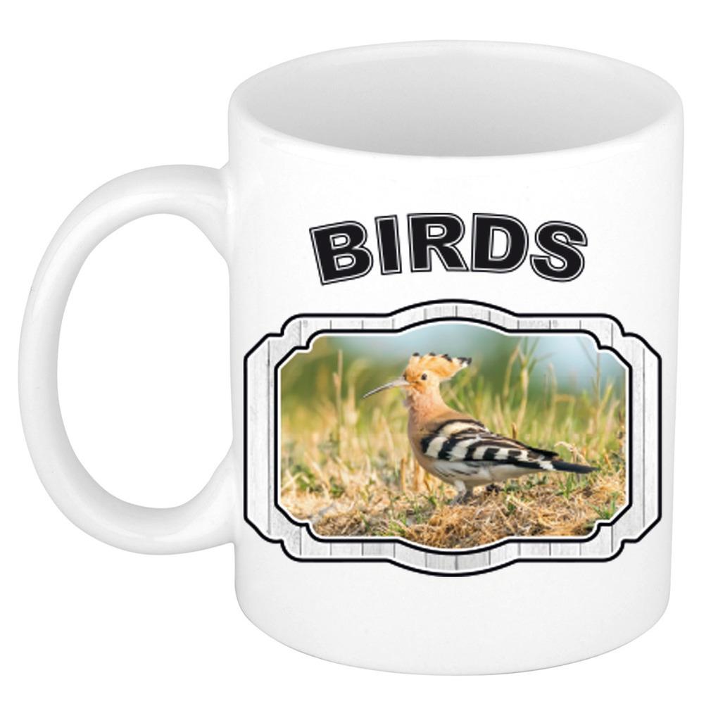 Dieren hop vogel beker - birds/ vogels mok wit 300 ml