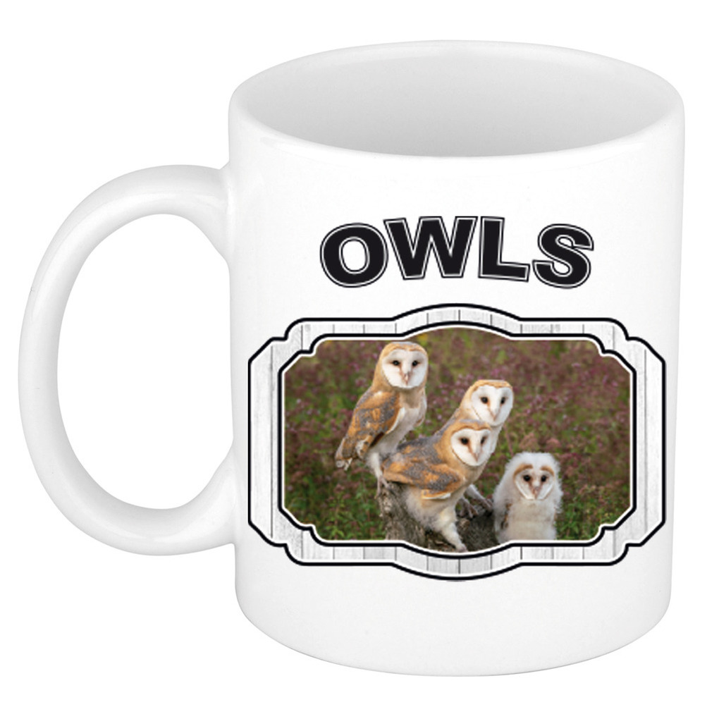 Dieren kerkuil beker - owls/ uilen mok wit 300 ml